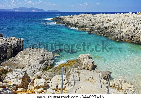 Blue waters  of Alaties Beach, Kefalonia, Ionian islands, Greece