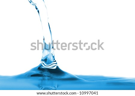Blue watersplash, isolated over white - stock photo