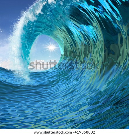Blue wave twirl background 3d illustration - stock photo