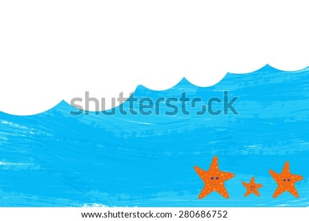 Blue waves in summer with empty space for text - stock photo