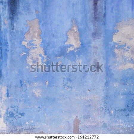 Blue weathered grunge wall  - stock photo