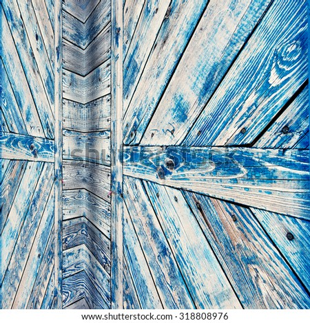 blue weathered wood door texture. grunge background - stock photo
