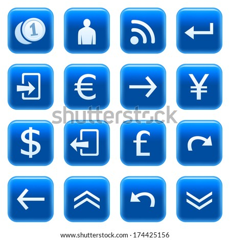 Blue web icons. Raster version of EPS image 28573843 - stock photo