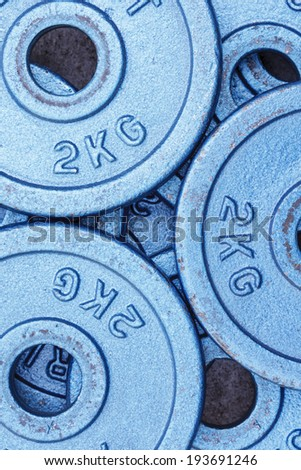 Blue weight plates - stock photo