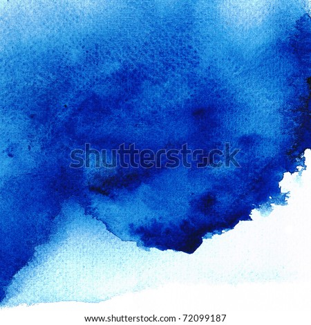 Blue Wet on wet abstract watercolors - stock photo