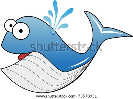 Blue whale illustration on white - stock photo