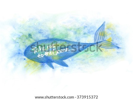 Blue Whale Illustration under the water. Watercolor whale. illustration of watercolor whale, - stock photo