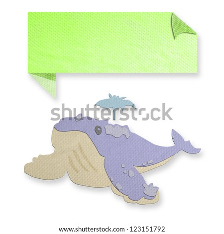 blue whale with text box made from tissue paper-craft - stock photo