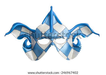 Blue white harlequin mask isolated over white - stock photo