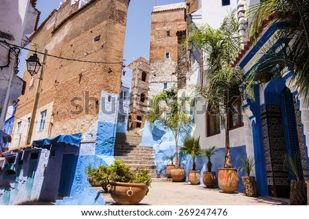 Blue White Lane, Chefchaouen, Morocco - stock photo
