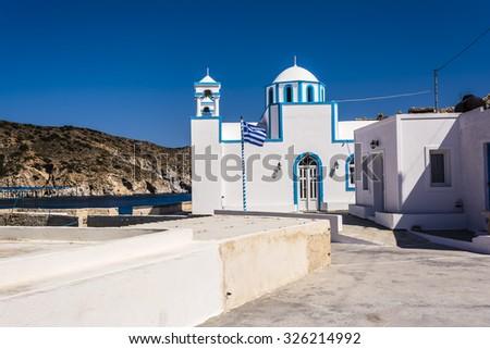 Blue White orthodox church at Firopotamos, Milos island, Cyclades, Greece - stock photo