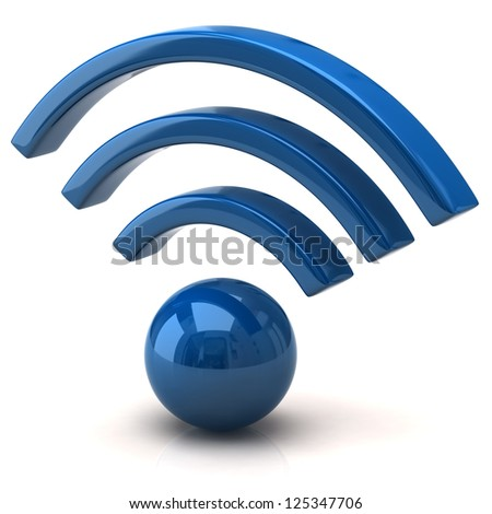 Blue wifi icon - stock photo