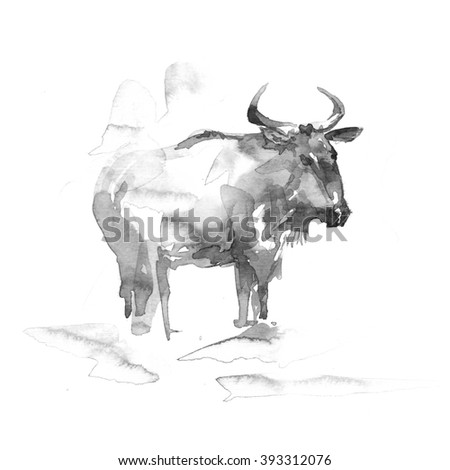 Blue Wildebeest. Watercolor illustration on white background. - stock photo