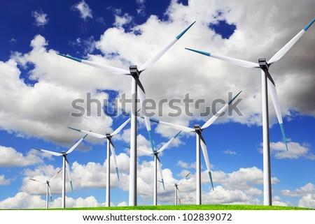 Blue wind energy - stock photo