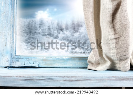 blue window of wood and landscape  - stock photo