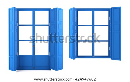 Blue windows on two different designs isolated on white background, 3D rendering