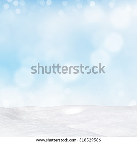Blue winter background with various bokeh and snowdrift - stock photo