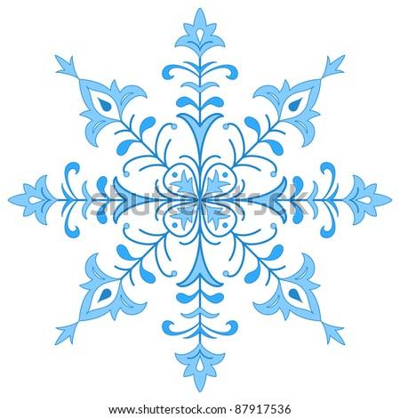 Blue winter snowflake, monochrome contour on white background - stock photo