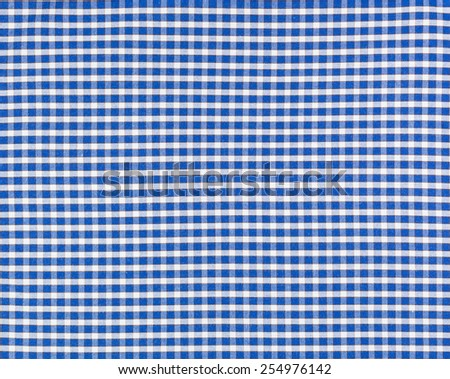 Blue with white line plaid textile fabric background.