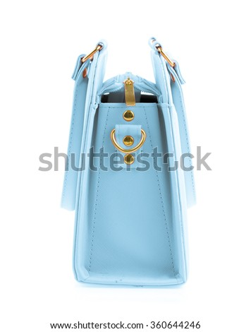Blue woman's bag isolated on white background - stock photo