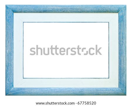 blue wood picture frame isolated on white background - stock photo