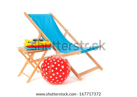 Blue wooden beach chair for vacation isolated over white background - stock photo