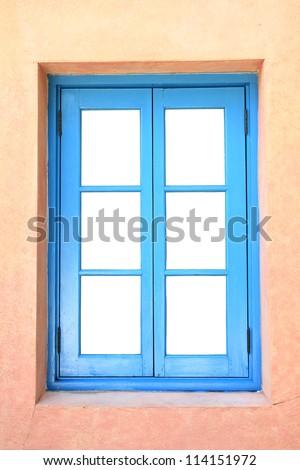 Blue wooden frame window. - stock photo