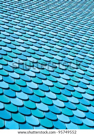 Blue wooden roof panels as an abstract background image