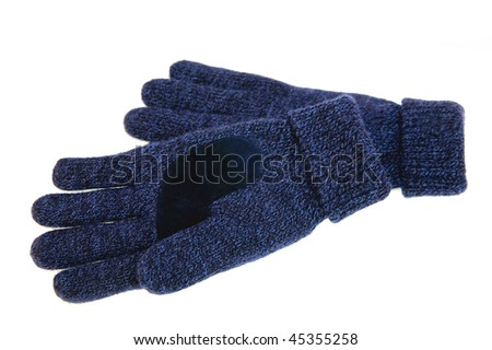 Blue woolen gloves isolated on white - stock photo