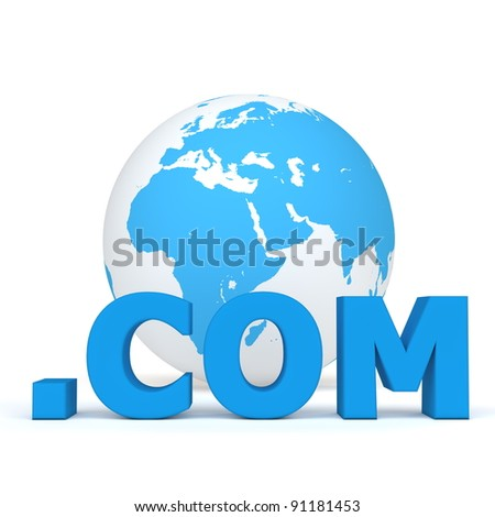 blue word .com in front of a blue and white globe - stock photo