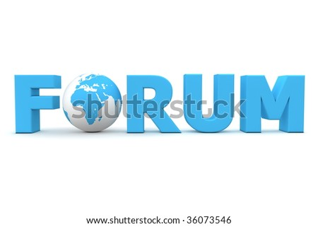 blue word Forum with 3D globe replacing letter O