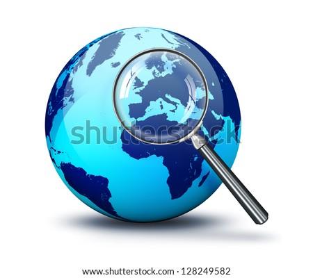 blue World - focus on Europe - stock photo