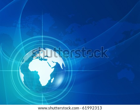 blue world globe and map over lights, rays with net like background - stock photo