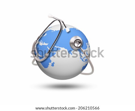 blue world health and stethoscope on white - stock photo