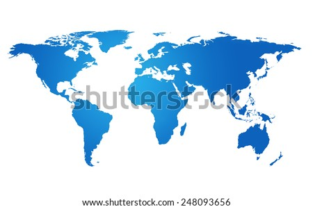 Blue World map - stock photo