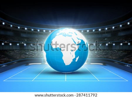 blue world map placed on a blue court set on Africa and Europe tennis sport theme render illustration background - stock photo