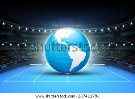 blue world map placed on a blue court set on America tennis sport theme render illustration background - stock photo