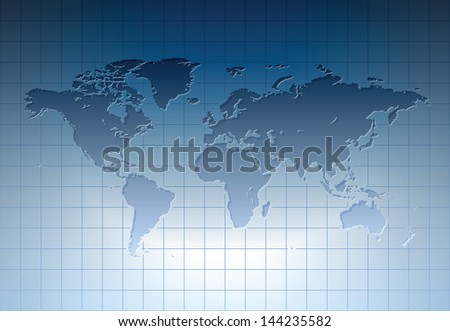 Blue world map. Raster version. Vector version is also available. - stock photo