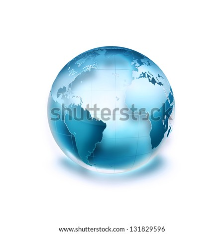 blue world on the white background