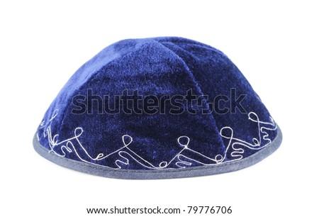 Blue yarmulke isolated on a white background. - stock photo