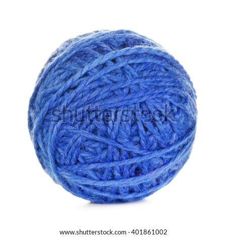Blue Yarn Ball - stock photo