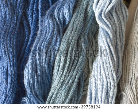 blue yarns - stock photo