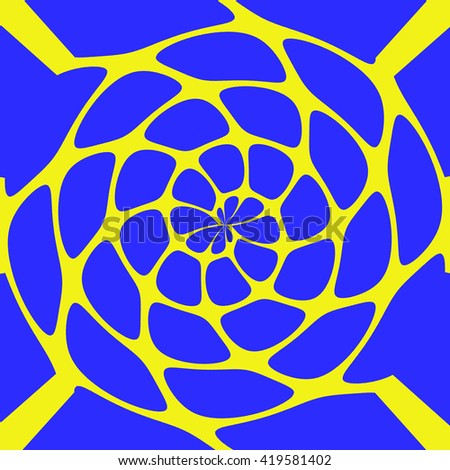 blue-yellow background with a abstract pattern in the center
