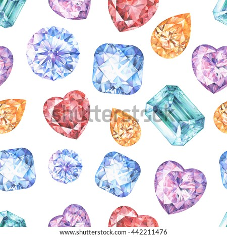 Blue, yellow, red, green and violet diamond crystals. Watercolor seamless pattern. Emerald, topaz, ruby, sapphire, diamond. Isolated on white background. Fashion glamour style - stock photo