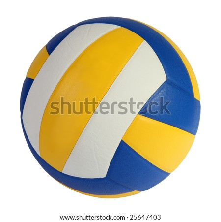blue, yellow Volley-ball ball on a white background