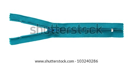 blue zipper isolated on white