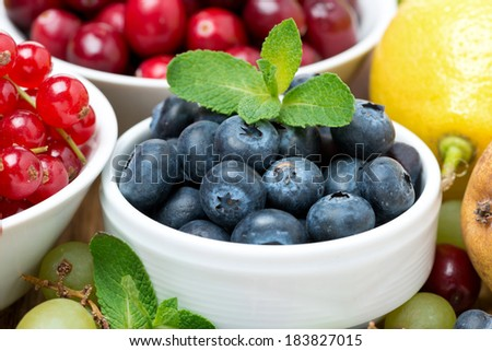blueberries, fresh berries and fruits, close-up, horizontal