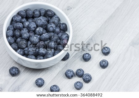 Blueberries in a bowl on a wooden table