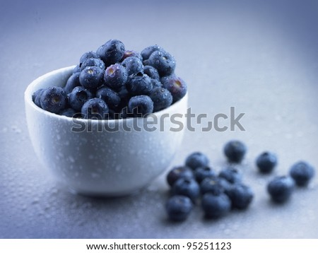 Blueberries in a white bowl - stock photo