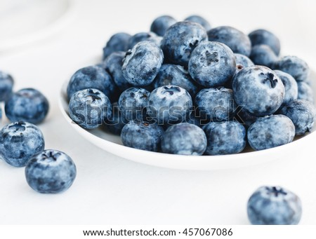 Blueberries in a white plate on a white background - stock photo